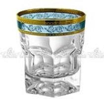 106360 Jg 6 copos whisky dourado-azul