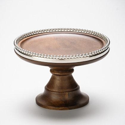 98605 Prato bolo com pé madeira Beaded Rim com borda metal