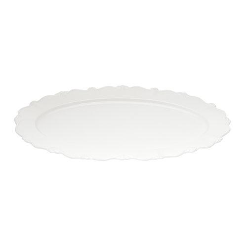 111619 Prato oval de porcelana fancy branco