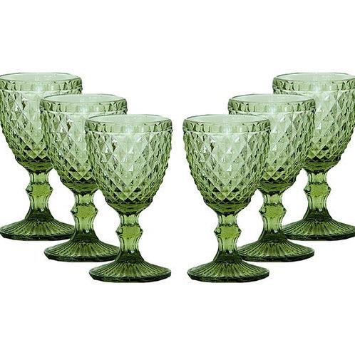 88704 Jg 6 taças para água verde verre