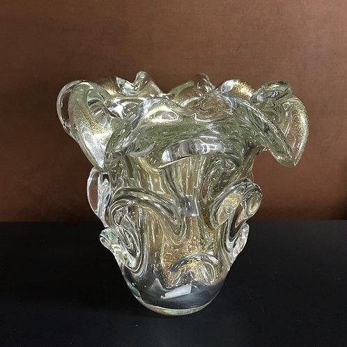 126768 Vaso traun transparente com ouro