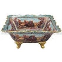 106364 Centro de mesa em porcelana azul-dourado