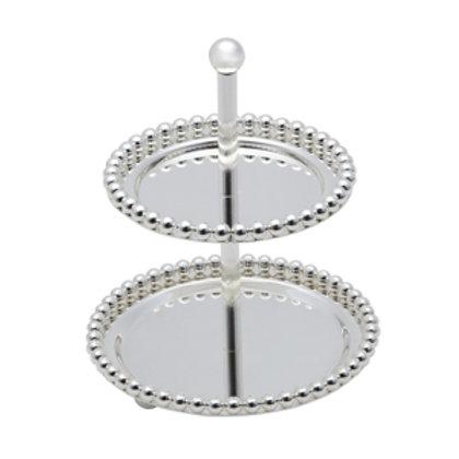 106886 Porta doces 2 andares Zamac Balls Silver Plated 13,3x13,3x17,5cm