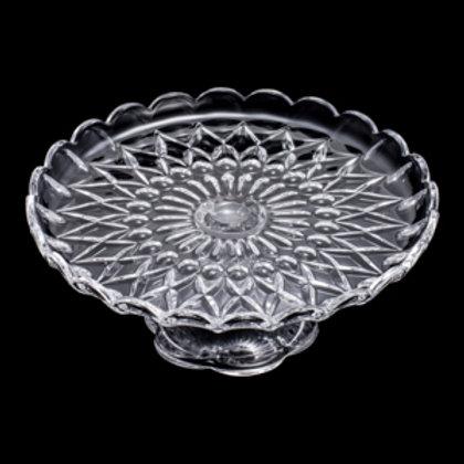 106394 Prato para bolo cristal com pé Angelica 30x30x12,6cm