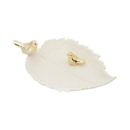 117440 Prato ceramica branca com passaro dourado