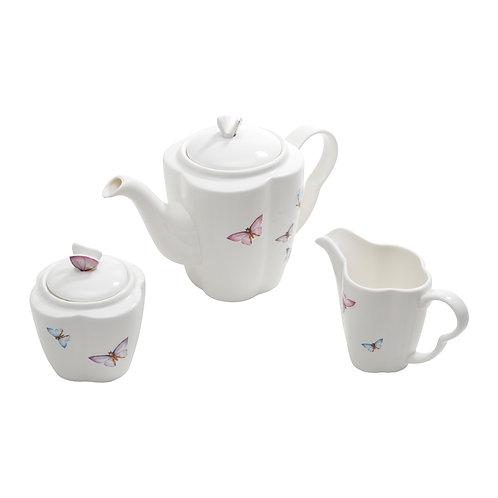 103776  Jg café 3pçs c/ açucareiro, leiteira e chaleira borboleta
