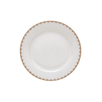 117528 Jogo 06 pratos rasos Bone China dourado