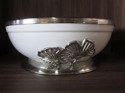 105538 Travessa funda cerâmica com metal 33cm