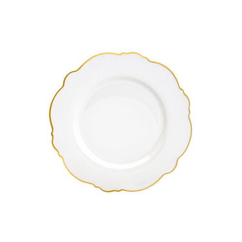 125093 Cj 06 pratos rasos de porcelana com filete dourado