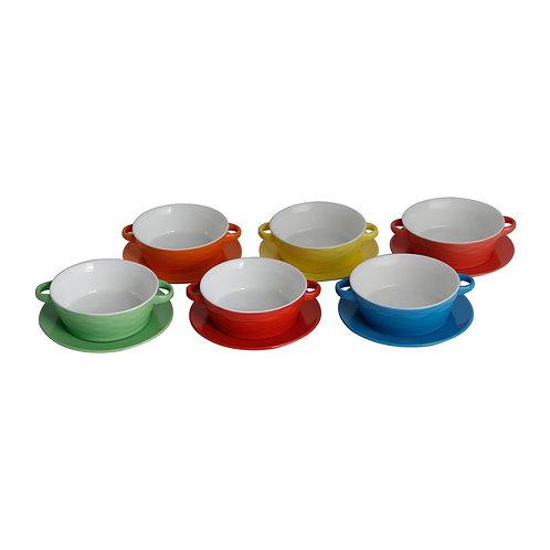112341 Jg. 6 Bowls p/ sopa c/ pratos de porcelana Mary 300ml