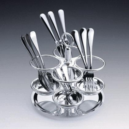 104380 Porta talheres prata Elegance 23cm