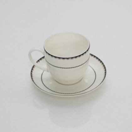 102512 Jogo 06 xicaras de chá Alto Relevo Blue Silver