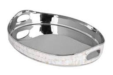 105864 Bandeja oval metal indiano borda madre perola