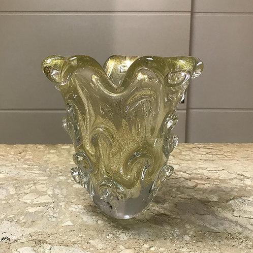 122403 Vaso murano transparente com ouro