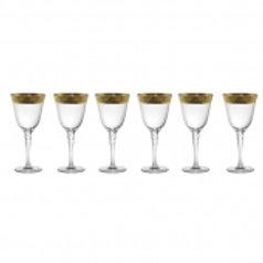 105624 Jogo 06 taças vinho branco com dourado