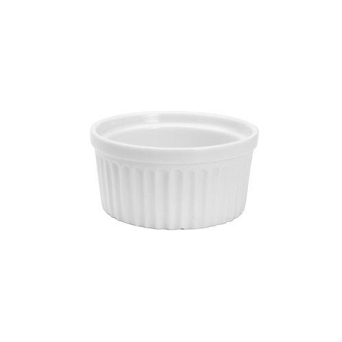 120932 Jogo 04 ramequins de porcelana branco 8X4cm
