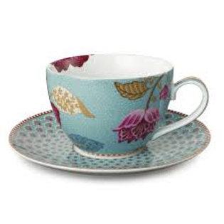 105425 Xícara de chá azul floral fantasy pip (und)