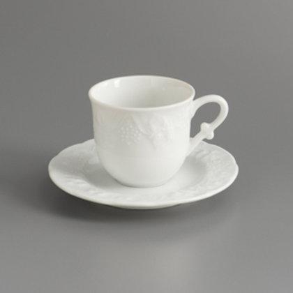 102635 Jg. 6 xícaras de chá c/ pires de porcelana 200ml vendange