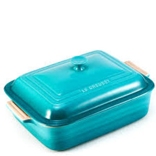 36775 Travessa retangular com tampa Le Creuset azul caribe