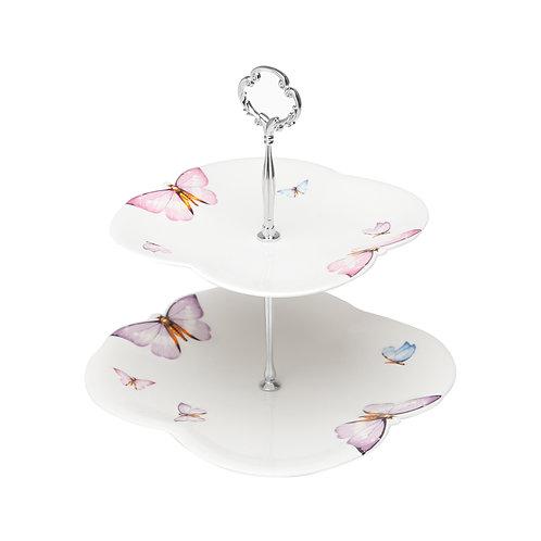 103756 Porta doce 2 níveis de porcelana motivo borboletas