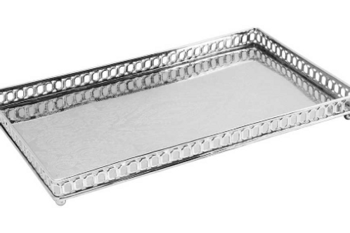 108152 Bandeja 40*23*4CM metal cor prata retang