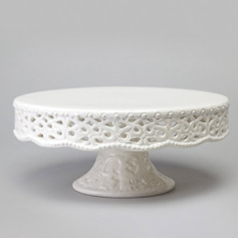 101624 Prato para bolo com pé rendado 20,5x8,5cm