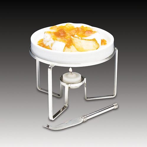 45433 Rechaud para queijo brie 15cm com faca prata