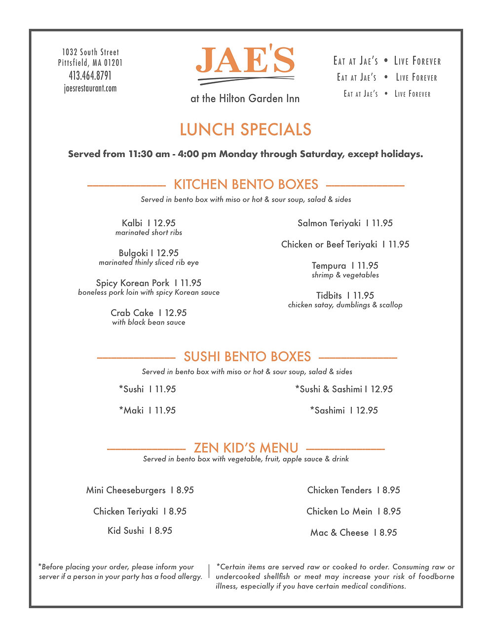 Jae Hilton Lunch Specials Menu CL 011219