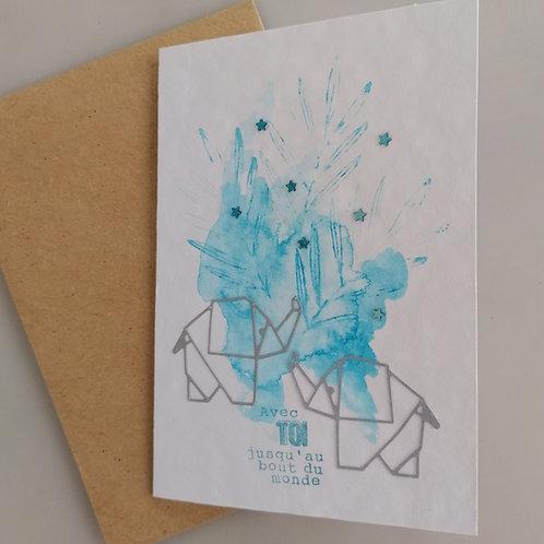 Carte fait main elephants bleu