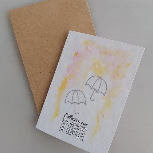 Carte fait main parapluie