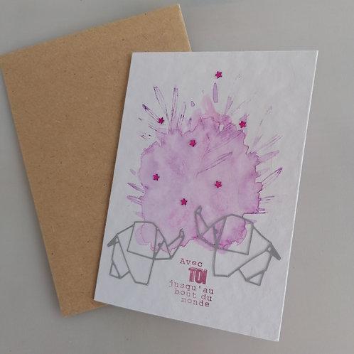 Carte fait main elephants rose