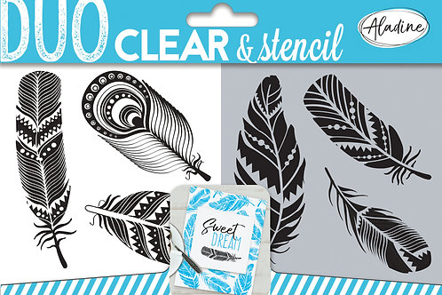 Tampon duo clear & stencil Aladine Plumes