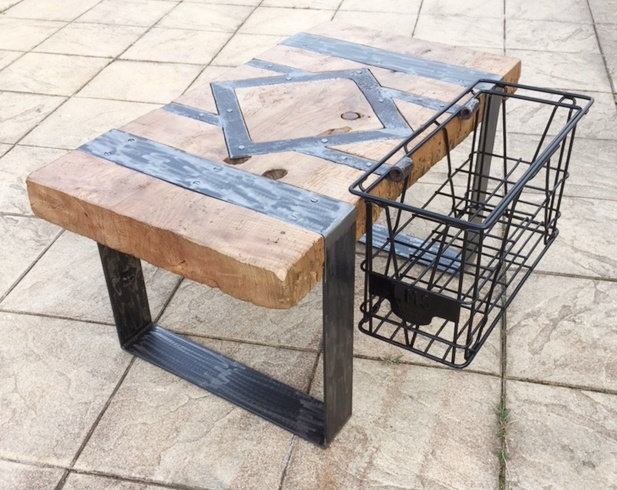 Table basse billot avec casier latéral