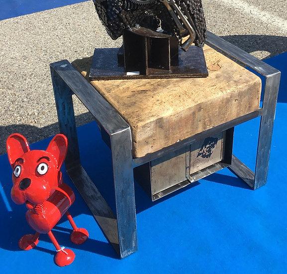 Table basse cube avec casiers métal