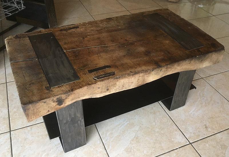 Table basse billot avec tablette en métal