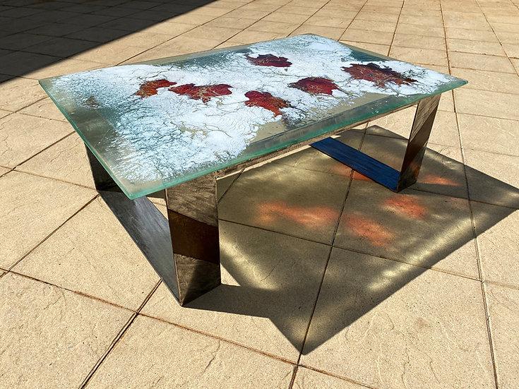 Table basse avec plateau en verre fusin