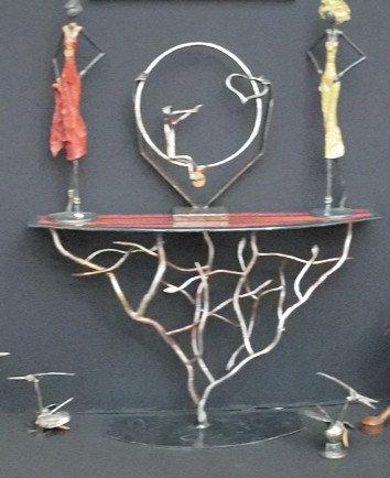 Console arbre de racines plateau verre fusin courbe