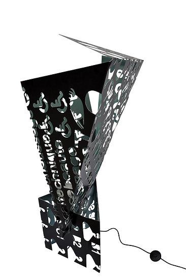 Luminaire sculpture en aluminium laqué noir recyclé