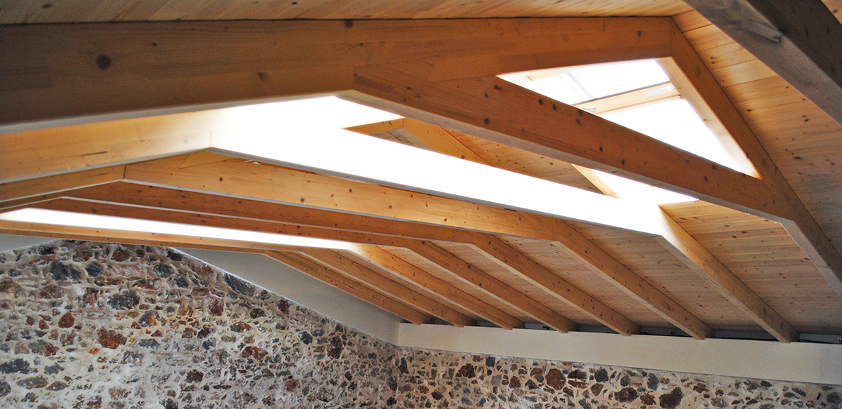 Wooden roof with skylights