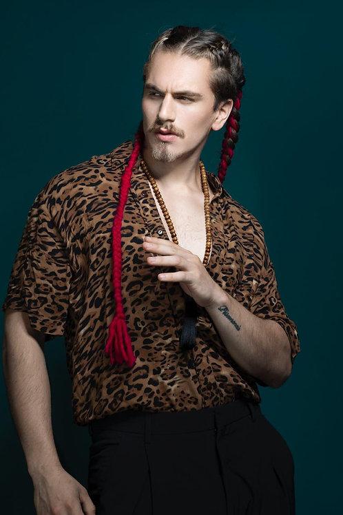 Camisa manga corta leopardo