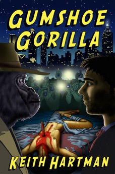 "Book Cover for gay science fiction mystery novel ""Gumshoe Gorilla"""