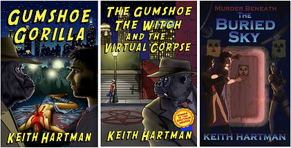 Book Covers for Keith Hartman's science fiction mystery novels