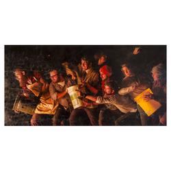 "Lucas Simmons  ""Bucket Brigade"" 72"" x 144"" oil on canvas $9,500.00"
