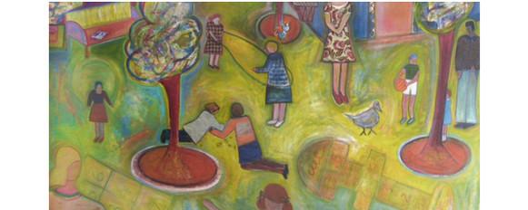 "Josette Simon-Gestin ""Playtime #1"" collage and acrylic on canvas 63"" x 108"" $11,800"