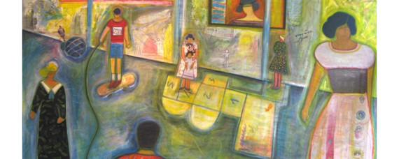 "Josette Simon-Gestin  ""Playtime #3"" collage acrylic on canvas 49"" x 95"" $7,975"