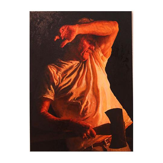 """Lucas Simons  """"Man with Axe"""" 30"""" x 40"""" oil on canvas $3,200"""