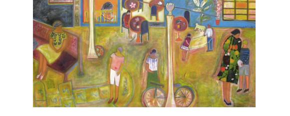 "Josette Simon-Gestin ""Playtime #2"" collage and acrylic on canvas 48.5"" x 99.5"" $8,250"