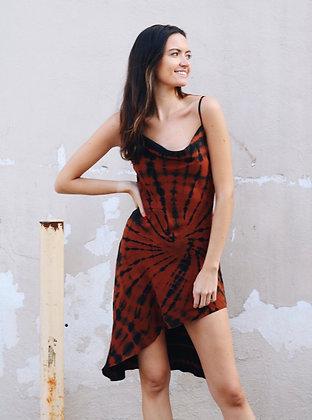 Brown Tie-Dye Dress