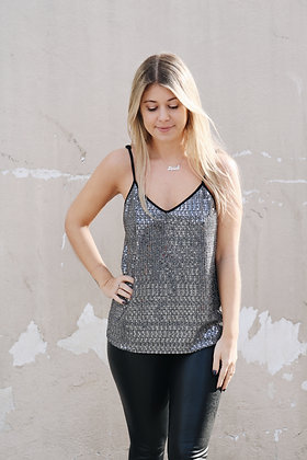Drew Silver Sequin Top