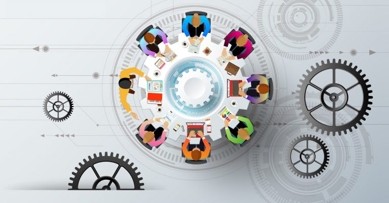 Animation image of people in a meeting